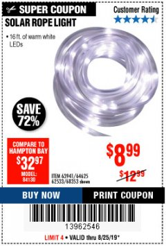Harbor Freight Coupon SOLAR ROPE LIGHT Lot No. 68353/62533/63941/64625 Expired: 8/25/19 - $8.99
