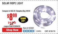 Harbor Freight Coupon SOLAR ROPE LIGHT Lot No. 68353/62533/63941/64625 Expired: 9/30/19 - $8.99