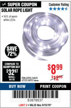 Harbor Freight Coupon SOLAR ROPE LIGHT Lot No. 68353/62533/63941/64625 Expired: 9/15/19 - $8.99