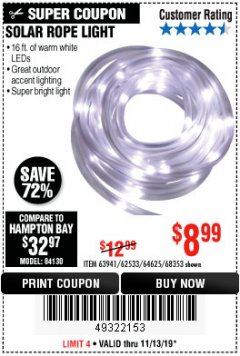 Harbor Freight Coupon SOLAR ROPE LIGHT Lot No. 68353/62533/63941/64625 Expired: 11/13/19 - $8.99