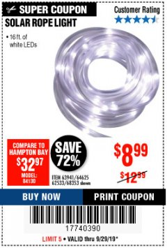 Harbor Freight Coupon SOLAR ROPE LIGHT Lot No. 68353/62533/63941/64625 Expired: 9/29/19 - $8.99