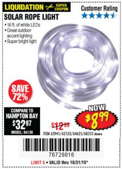 Harbor Freight Coupon SOLAR ROPE LIGHT Lot No. 68353/62533/63941/64625 Expired: 10/31/19 - $8.99