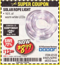 Harbor Freight Coupon SOLAR ROPE LIGHT Lot No. 68353/62533/63941/64625 Expired: 11/30/19 - $8.99