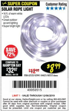 Harbor Freight Coupon SOLAR ROPE LIGHT Lot No. 68353/62533/63941/64625 Expired: 12/6/19 - $8.99