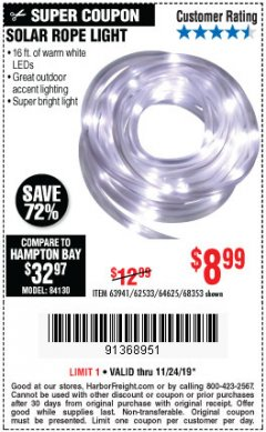 Harbor Freight Coupon SOLAR ROPE LIGHT Lot No. 68353/62533/63941/64625 Expired: 11/24/19 - $8.99