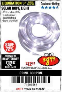 Harbor Freight Coupon SOLAR ROPE LIGHT Lot No. 68353/62533/63941/64625 Expired: 11/10/19 - $8.99