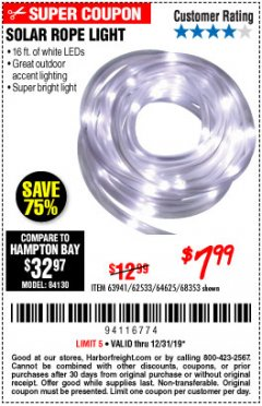 Harbor Freight Coupon SOLAR ROPE LIGHT Lot No. 68353/62533/63941/64625 Expired: 12/31/19 - $7.99