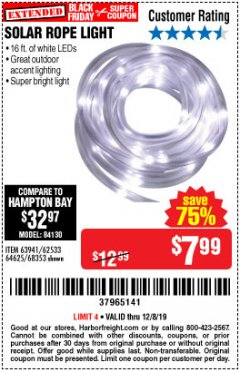Harbor Freight Coupon SOLAR ROPE LIGHT Lot No. 68353/62533/63941/64625 Expired: 12/8/19 - $7.99