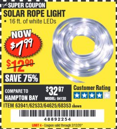 Harbor Freight Coupon SOLAR ROPE LIGHT Lot No. 68353/62533/63941/64625 Expired: 2/12/20 - $7.99