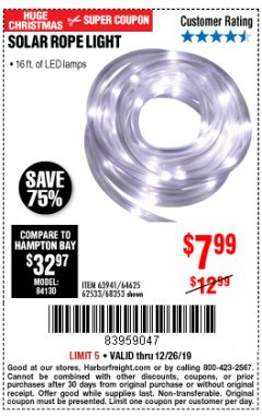 Harbor Freight Coupon SOLAR ROPE LIGHT Lot No. 68353/62533/63941/64625 Expired: 12/26/19 - $7.99