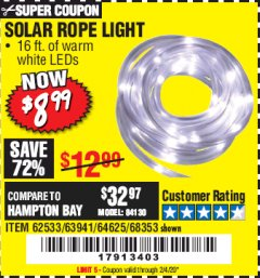 Harbor Freight Coupon SOLAR ROPE LIGHT Lot No. 68353/62533/63941/64625 Expired: 2/4/20 - $8.99