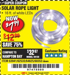 Harbor Freight Coupon SOLAR ROPE LIGHT Lot No. 68353/62533/63941/64625 Expired: 2/3/20 - $7.99