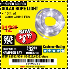 Harbor Freight Coupon SOLAR ROPE LIGHT Lot No. 68353/62533/63941/64625 Expired: 2/15/20 - $8.99