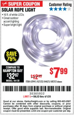Harbor Freight Coupon SOLAR ROPE LIGHT Lot No. 68353/62533/63941/64625 Valid Thru: 4/1/20 - $7.99