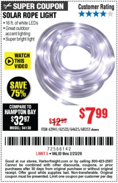 Harbor Freight Coupon SOLAR ROPE LIGHT Lot No. 68353/62533/63941/64625 Expired: 2/23/20 - $7.99