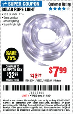 Harbor Freight Coupon SOLAR ROPE LIGHT Lot No. 68353/62533/63941/64625 Expired: 2/17/20 - $7.99