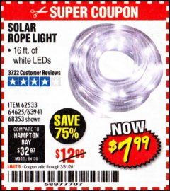 Harbor Freight Coupon SOLAR ROPE LIGHT Lot No. 68353/62533/63941/64625 Valid Thru: 3/31/20 - $7.99