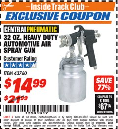 Harbor Freight ITC Coupon 32 OZ. HEAVY DUTY AUTOMATIC AIR SPRAY GUN Lot No. 43760 Expired: 7/22/18 - $14.99