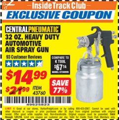 Harbor Freight ITC Coupon 32 OZ. HEAVY DUTY AUTOMATIC AIR SPRAY GUN Lot No. 43760 Expired: 1/31/19 - $14.99