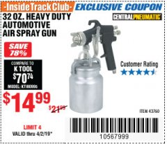 Harbor Freight ITC Coupon 32 OZ. HEAVY DUTY AUTOMATIC AIR SPRAY GUN Lot No. 43760 Expired: 4/2/19 - $14.99