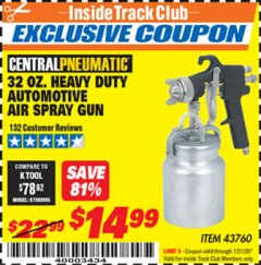 Harbor Freight ITC Coupon 32 OZ. HEAVY DUTY AUTOMATIC AIR SPRAY GUN Lot No. 43760 Expired: 1/31/20 - $14.99