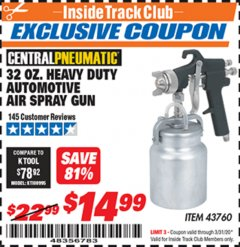 Harbor Freight ITC Coupon 32 OZ. HEAVY DUTY AUTOMATIC AIR SPRAY GUN Lot No. 43760 Expired: 3/31/20 - $14.99