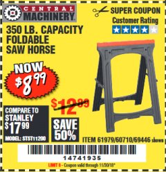Harbor Freight Coupon 350 LB. CAPACITY FOLDING SAWHORSE Lot No. 69446/60710/61979 Expired: 11/30/18 - $8.99