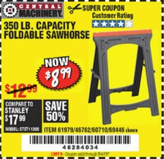 Harbor Freight Coupon 350 LB. CAPACITY FOLDING SAWHORSE Lot No. 69446/60710/61979 Valid Thru: 5/4/19 - $8.99