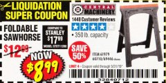 Harbor Freight Coupon 350 LB. CAPACITY FOLDING SAWHORSE Lot No. 69446/60710/61979 Expired: 5/31/19 - $8.99