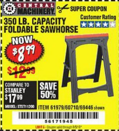 Harbor Freight Coupon 350 LB. CAPACITY FOLDING SAWHORSE Lot No. 69446/60710/61979 Expired: 8/5/19 - $8.99