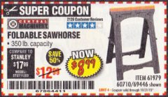 Harbor Freight Coupon 350 LB. CAPACITY FOLDING SAWHORSE Lot No. 69446/60710/61979 Expired: 10/31/19 - $8.99