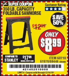 Harbor Freight Coupon 350 LB. CAPACITY FOLDING SAWHORSE Lot No. 69446/60710/61979 Expired: 12/14/19 - $8.99