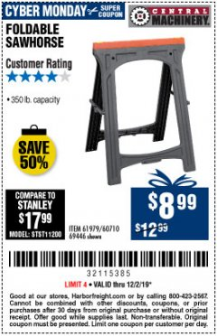 Harbor Freight Coupon 350 LB. CAPACITY FOLDING SAWHORSE Lot No. 69446/60710/61979 Expired: 12/1/19 - $8.99