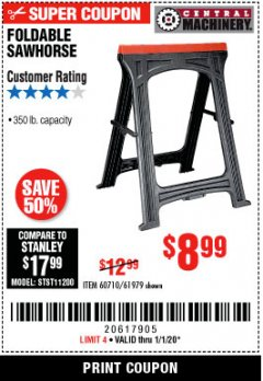 Harbor Freight Coupon 350 LB. CAPACITY FOLDING SAWHORSE Lot No. 69446/60710/61979 Expired: 1/1/20 - $8.99