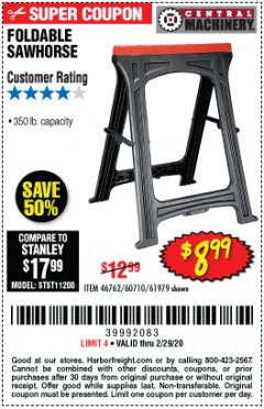 Harbor Freight Coupon 350 LB. CAPACITY FOLDING SAWHORSE Lot No. 69446/60710/61979 Expired: 2/29/20 - $8.99