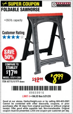 Harbor Freight Coupon 350 LB. CAPACITY FOLDING SAWHORSE Lot No. 69446/60710/61979 EXPIRES: 6/30/20 - $8.99