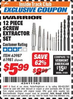 Harbor Freight ITC Coupon 12 PIECE SCREW EXTRACTOR SET Lot No. 61981 Expired: 6/30/18 - $5.99