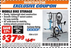 Harbor Freight ITC Coupon MOBILE BIKE STORAGE Lot No. 61231 Expired: 8/31/18 - $37.99
