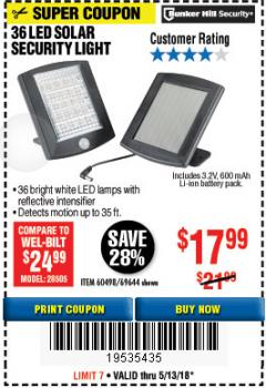 Harbor Freight Coupon 36 LED SOLAR SECURITY LIGHT Lot No. 69644/60498/69890 Expired: 5/13/18 - $17.99