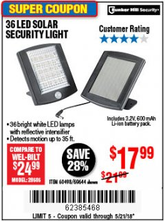 Harbor Freight Coupon 36 LED SOLAR SECURITY LIGHT Lot No. 69644/60498/69890 Expired: 5/21/18 - $17.99