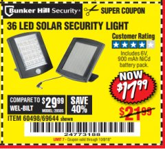 Harbor Freight Coupon 36 LED SOLAR SECURITY LIGHT Lot No. 69644/60498/69890 Expired: 10/8/18 - $17.99