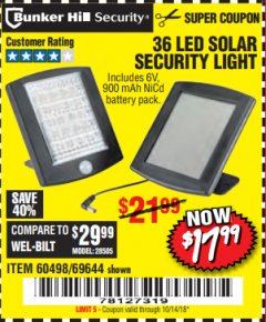 Harbor Freight Coupon 36 LED SOLAR SECURITY LIGHT Lot No. 69644/60498/69890 Expired: 10/14/18 - $17.99