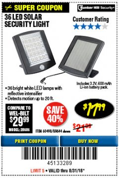 Harbor Freight Coupon 36 LED SOLAR SECURITY LIGHT Lot No. 69644/60498/69890 Expired: 8/31/18 - $17.99