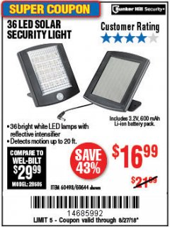 Harbor Freight Coupon 36 LED SOLAR SECURITY LIGHT Lot No. 69644/60498/69890 Expired: 8/27/18 - $16.99