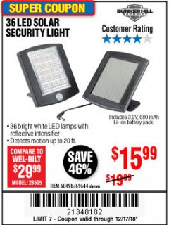 Harbor Freight Coupon 36 LED SOLAR SECURITY LIGHT Lot No. 69644/60498/69890 Expired: 12/17/18 - $15.99
