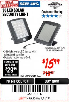 Harbor Freight Coupon 36 LED SOLAR SECURITY LIGHT Lot No. 69644/60498/69890 Expired: 1/31/19 - $15.99