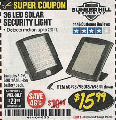 Harbor Freight Coupon 36 LED SOLAR SECURITY LIGHT Lot No. 69644/60498/69890 Expired: 4/30/19 - $15.99