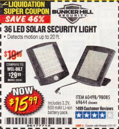 Harbor Freight Coupon 36 LED SOLAR SECURITY LIGHT Lot No. 69644/60498/69890 EXPIRES: 5/31/19 - $15.99