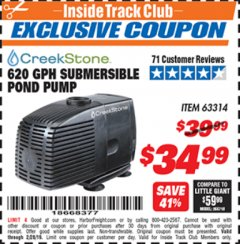 Harbor Freight ITC Coupon 620 GPH SUBMERSIBLE POND PUMP Lot No. 63314 Expired: 2/28/19 - $34.99