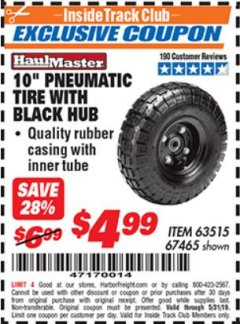 "Harbor Freight ITC Coupon 10"" PNEUMATIC TIRE WITH BLACK HUB Lot No. 69388/63515/67465 Dates Valid: 12/31/69 - 5/31/19 - $4.99"